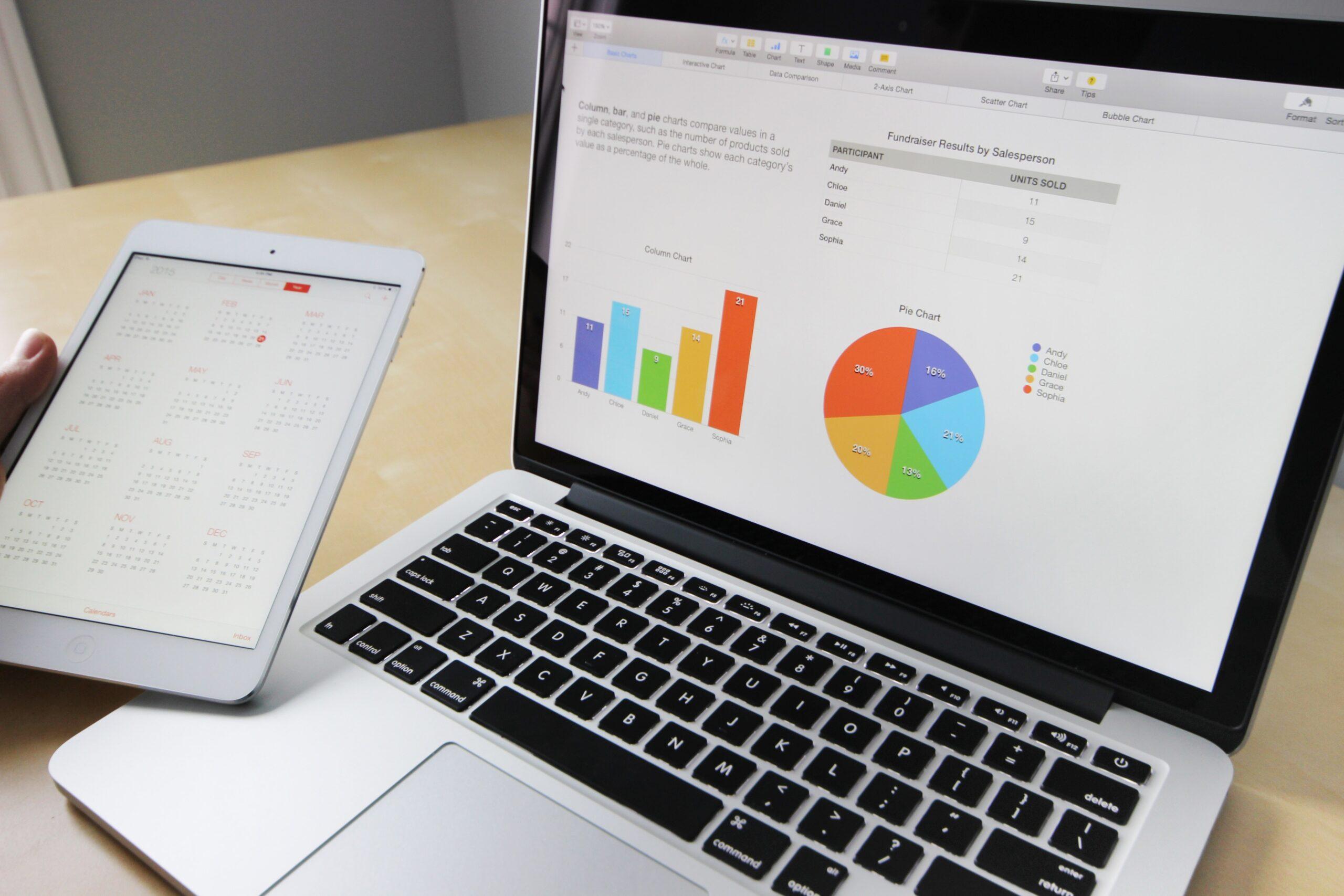 obrazek przedstawia laptopa z wyświetlanymi na ekranie grafami przedstawiającymi dane